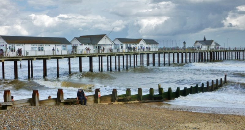 PIER AND GROYNE SOUTHWOLD by Jean Wild