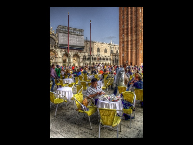 ENJOYING ST MARK'S SQUARE by Angela Caunce