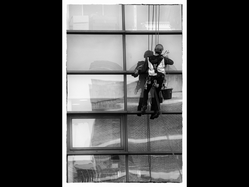 WINDOW CLEANING CANAL SIDE BIRMINGHAM by Margaret Davison B&W