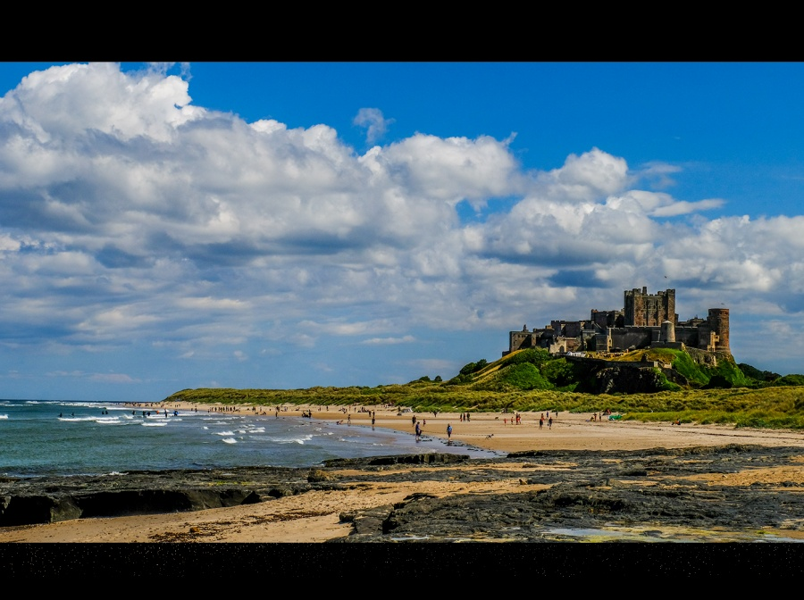 BAMBURGH CASTLE AND BEACH by Rosy Bateman