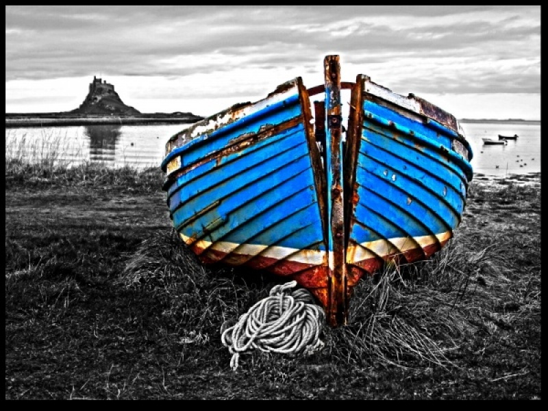 Old Fishing boat on Holy Island by Janette Hindle