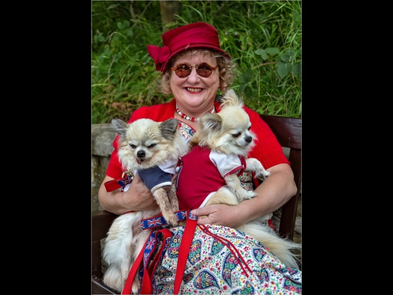 GLADYS WITH HER CHIHUAHUA'S by Keith Gordon