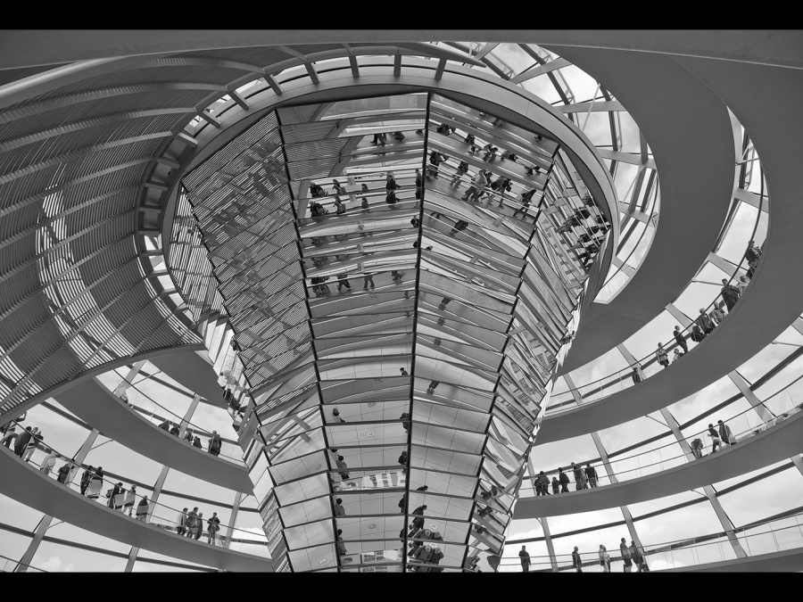 REFLECTIONS IN THE REICHSTAG DOME 1 by Pete Roberts
