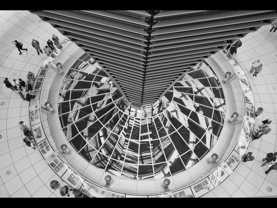 REFLECTIONS IN THE REICHSTAG DOME 3 by Pete Roberts